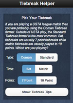 Tiebreak Helper App Screenshot